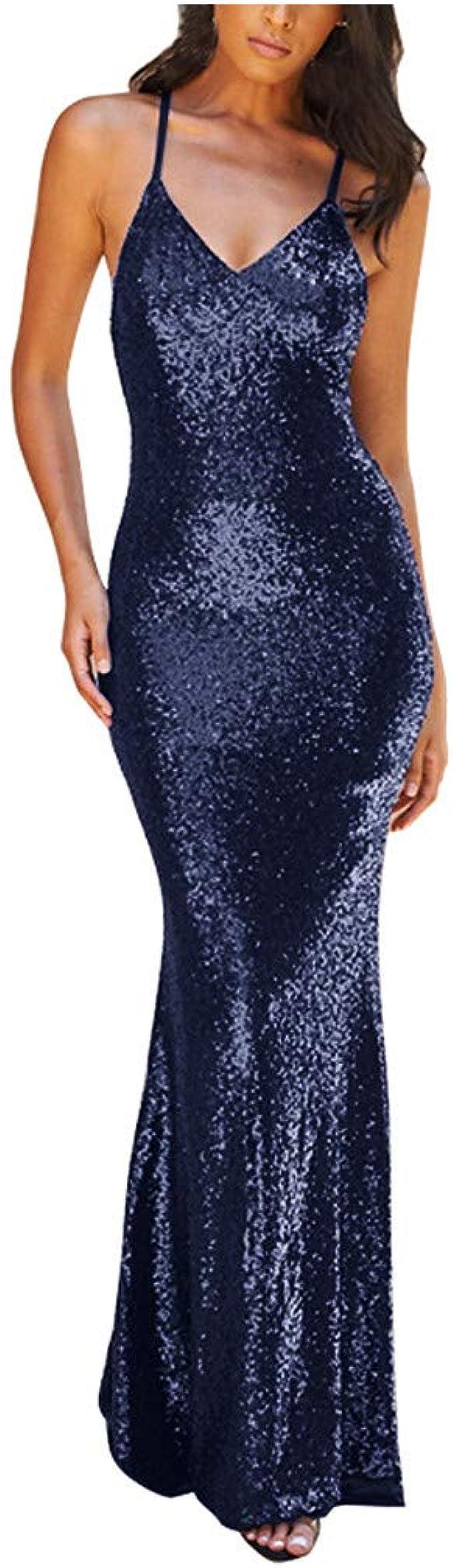 MEIbax Damen Sexy Lange Abendkleid Fischschwanz Kleid Glänzend