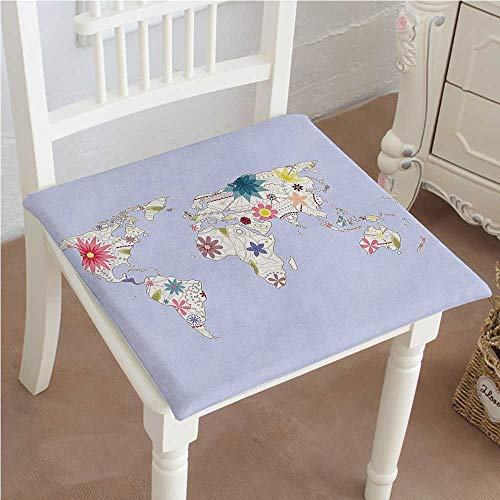 Chair Pads Classic Design PlayroomStyle Map with Soft Pastel Tone Blooms Atlas Cream Lilac Cotton Canvas Futon 20