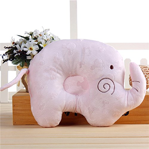 Head Shaping Baby Pillow,Comfortable Cotton Elephant Anti Roll Sleep Pillow Lovely Baby Toddler Prevent Flat Head Concave Positioner Shaping Pillow (Blue) shaohua