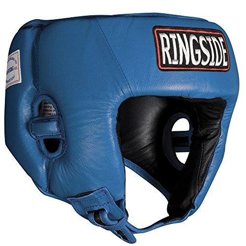 Ringside Competition Boxing Muay Thai MMA Sparring Head Protection Headgear Without Cheeks, Blue, Medium