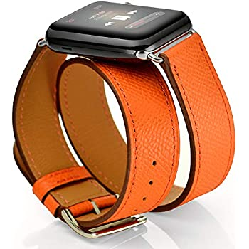 Amazon.com: Silicone&Genuine Leather Watch Band for Apple