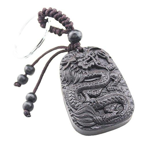 FOY-MALL Dragon Ebony Wood Carved Men Women Car/Bag Key Chain M1148 by FOY-MALL (Image #4)