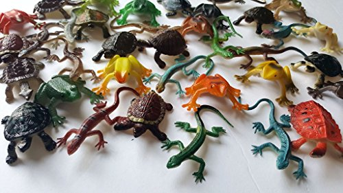 Nikki's Knick Knacks 36 Piece Plastic Toy Frog, Lizards, and Turtle Figures