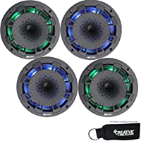 MB Quart Two pairs of NH1-116LB RGB LED two way 6.5 inch Compression Horn Speakers with poly cones (Black)