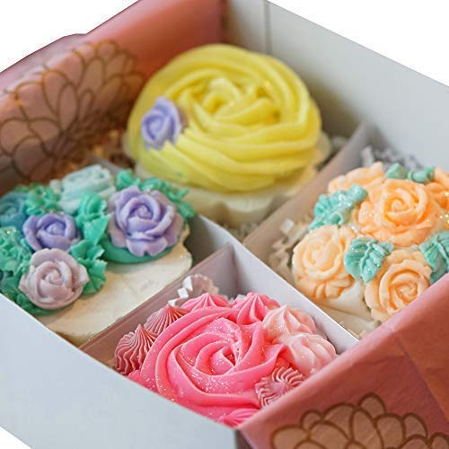 (Charlene New York Rose Garden Handmade Soap Cupcake Gift Set For Moms, Sisters, Friends As Birthday, Valentines Day, Mother's Day, Graduation, Wedding, Anniversary Presents 4 Large Soaps - 4 Oz Each)