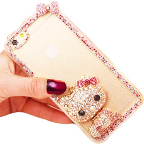(iPhone 7 Case, Hello Kitty Clear Luxury Fancy Bling Crystal Rhinestone Diamond Case For Apple iPhone 7 Fancy Hard Cover Model # AD ~ Estuche Funda)