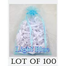 """100 pcs LIGHT BLUE Organza Drawstring Pouch Gift Bags - Jewelry Pouches, Weddings, Party Favors, Shops, Wholesale Lot - 4.3"""" x 6.5"""""""
