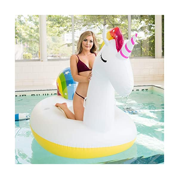 Giant Inflatable Unicorn Pool Float – Rapid Inflate and Deflate, Cup Holder, Safety Grab Handles, CE and SGS Certified… 10