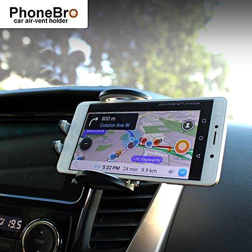 PhoneBro car air-Vent Phone Holder Cradle Stand with Silicone Padding Universal Smartphone Compatible foriPhone X 8 8 Plus 7 Plus SE 6s 6 Plus 6 5s 5 4s 4 Samsung Galaxy S6 S5 S4 LG Nexus Trustlab