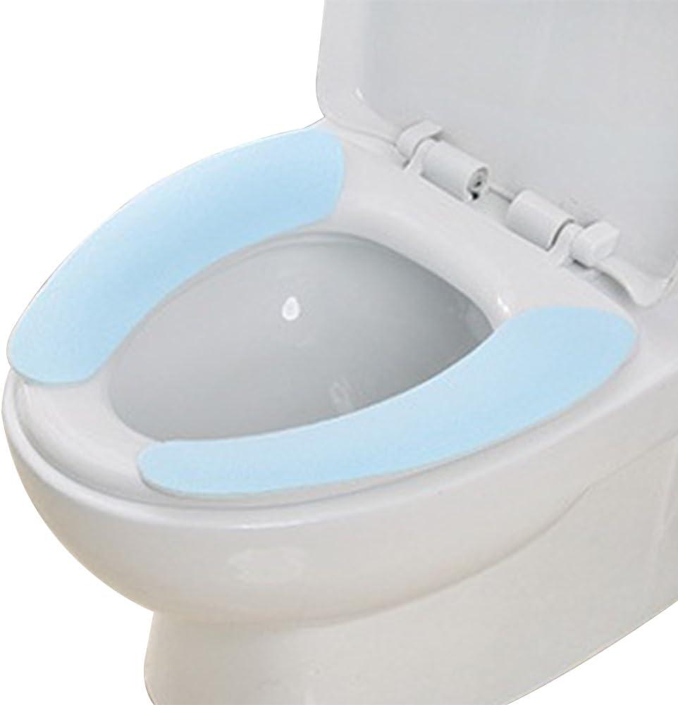 Milopon WC Pads Sitzbez/üge Waermer Waschbar Selbstklebend Winter Toiletten Sitz Toilettensitz Bezug Cover Matte 38cm*9.5cm Blau
