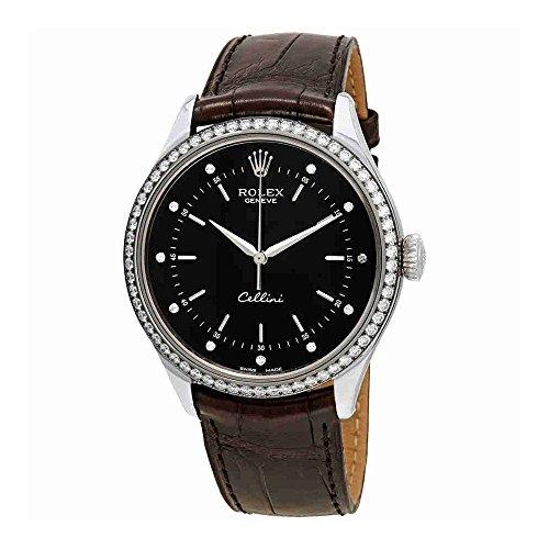 Rolex Cellini Time Black Diamond Dial Ladies Leather Watch 50709BKDL