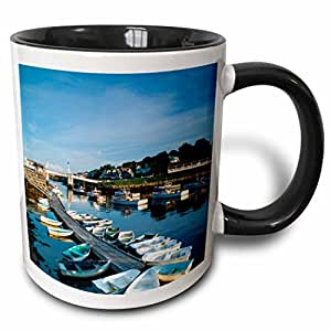 3dRose Danita Delimont - Maine - Maine, Ogunquit, Perkins Cove, boat harbor - 11oz Two-Tone Black Mug (mug_251086_4)