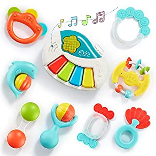 Bu-buildup 9pcs Baby Rattle Set, Baby Rattles Teether, Electronic Musical Toy with Light and Music, Grab and Spin Rattle, Early Educational Toys with Storage Box for Newborn Baby 3, 6, 9, 12 Month