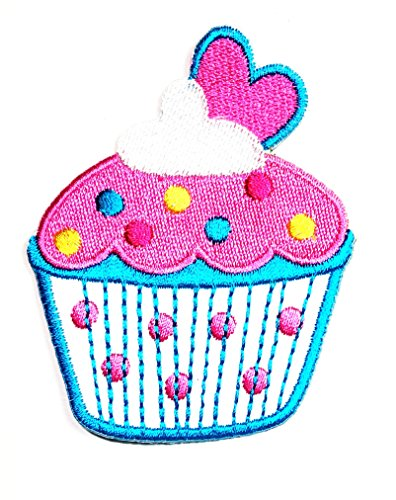 HHO Cute Cupcakes Pink White heart patch Embroidered DIY Patches, Cute Applique Sew Iron on Kids Craft Patch for Bags Jackets Jeans Clothes
