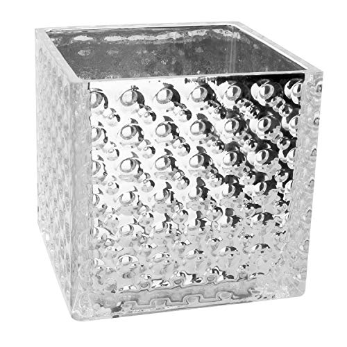 Royal Imports Flower Glass Vase Decorative Centerpiece for Home or Wedding Elegant Dimple Effect Cube, 6'' Tall, 6''x6'' Opening, Silver by Royal Imports