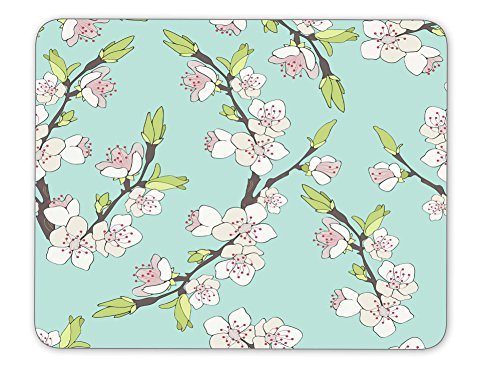 Cherry branch in blossom mouse pad--Non-Slip Rubber MousePad---Applies to games,home, school,office mouse ()