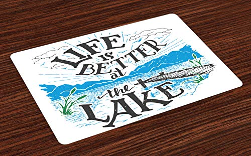 Lunarable Cabin Place Mats Set of 4, Life is Better at The Lake Wooden Pier Plants Mountains Sketch Art, Washable Fabric Placemats for Dining Room Kitchen Table Decor, Blue Jade -