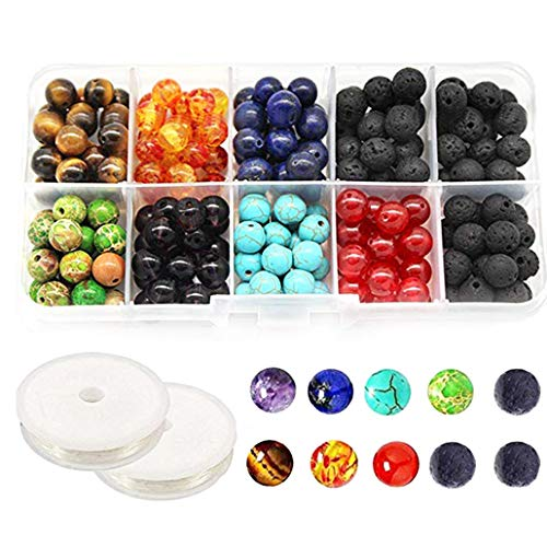 - 8MM Chakra Beads for Jewelry Making and Black Colored Lava Rock Stone Round Loose Beads Kit Silver Spacer Beads 2 Crystal Strings Assorted Colors for Essential Oil Jewelry Making