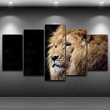 Home Einrichtung Wohnzimmer Wand Kunst Malerei Modulare 5 Tier Löwe  Bilderrahmen HD Gedruckt Cuadros Moderne