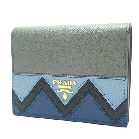 PRADA(プラダ) 二つ折り財布 財布 SAFFIANO GRECHE サフィアーノレザー MARMO×ASTRAL グレー ブルー 青 1MV204 18020299【新品】【アラモード】 B07B3PW7MS