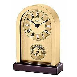 Bulova Aluminum Case Wooden Base Table Clock, Brushed Gold