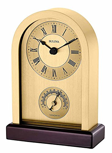 Bulova Aluminum Case Wooden Base Table Clock, Brushed (Brushed Metal Gold Background)