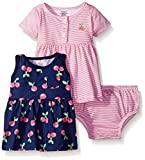 Gerber Baby Three-Piece Dress and Diaper Cover Set, Cherries/Exclusive, 12 Months