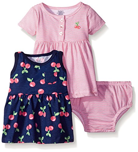 Gerber Baby Three-Piece Dress and Diaper Cover Set, Cherries/Exclusive, 3-6 (4 Piece Diaper)