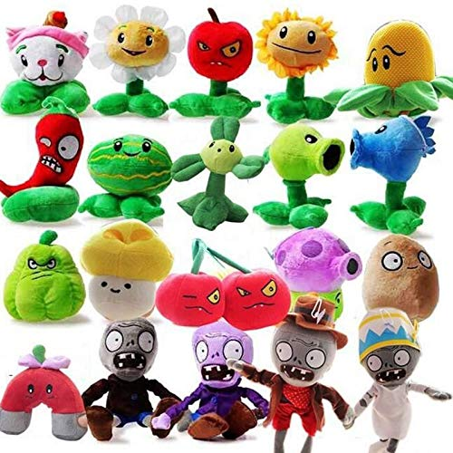RAFGL Azoo 20Pcs/Lot Plants Vs Zombies Stuffed Plush Toys Fashion Games PVZ Soft Toys Doll for Kids Gifts Party Toy Plush Doll Must Haves for Kids Friendship Gifts Girl S Favourite by RAFGL