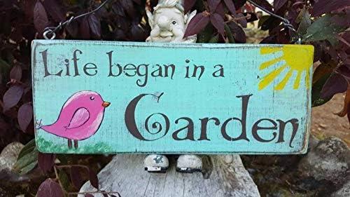 CELYCASY - Placa de Madera Maciza para jardín La Vida Comienza en ...