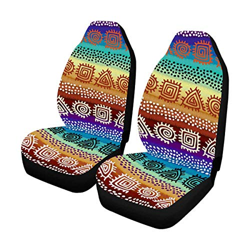 - INTERESTPRINT Custom Ethnic Boho Stripe Car Seat Covers for Front of 2,Vehicle Seat Protector Fit Most Car,Truck,SUV,Van