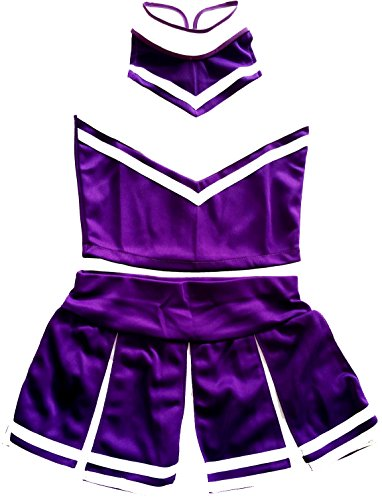 Women Cheerleader Cheerleading Outfit Uniform Costume Cosplay Purple/White (XS/ 0-2) -