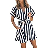 Clearance! Womens Tunic Tops 2019 Spring Short Sleeve V Neck Striped Pockets Button Blouse Mini Dress With Belt (XL, Navy)