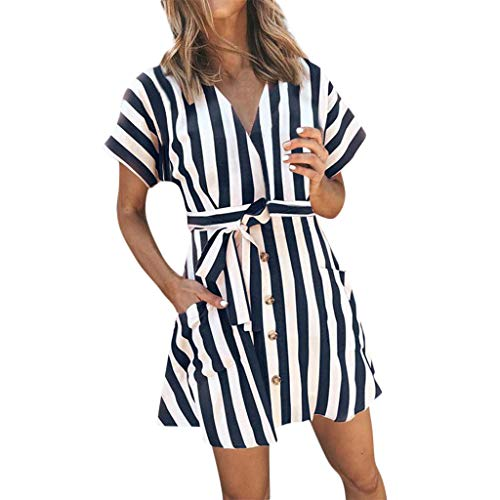 Womens Short Sleeve V Neck Striped Pockets Above Knee Dress Party Dress ()