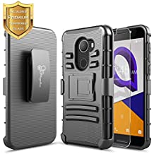 T-Mobile REVVL Case with [Tempered Glass Screen Protector], Alcatel A30 Fierce (MetroPCS) / Alcatel A30 Plus 5.5'' / Alcatel Walters, NageBee [Heavy Duty][Belt Clip Holster Kickstand] Combo Case-Black