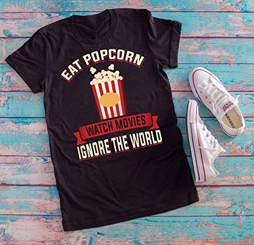 Eat Popcorn Watch Movies Ignore the World t-shirt, Watch Movies T-shirt, Popcorn Lover Shirt, Eat Popcorn Funny Tee, Cinema Costume shirt