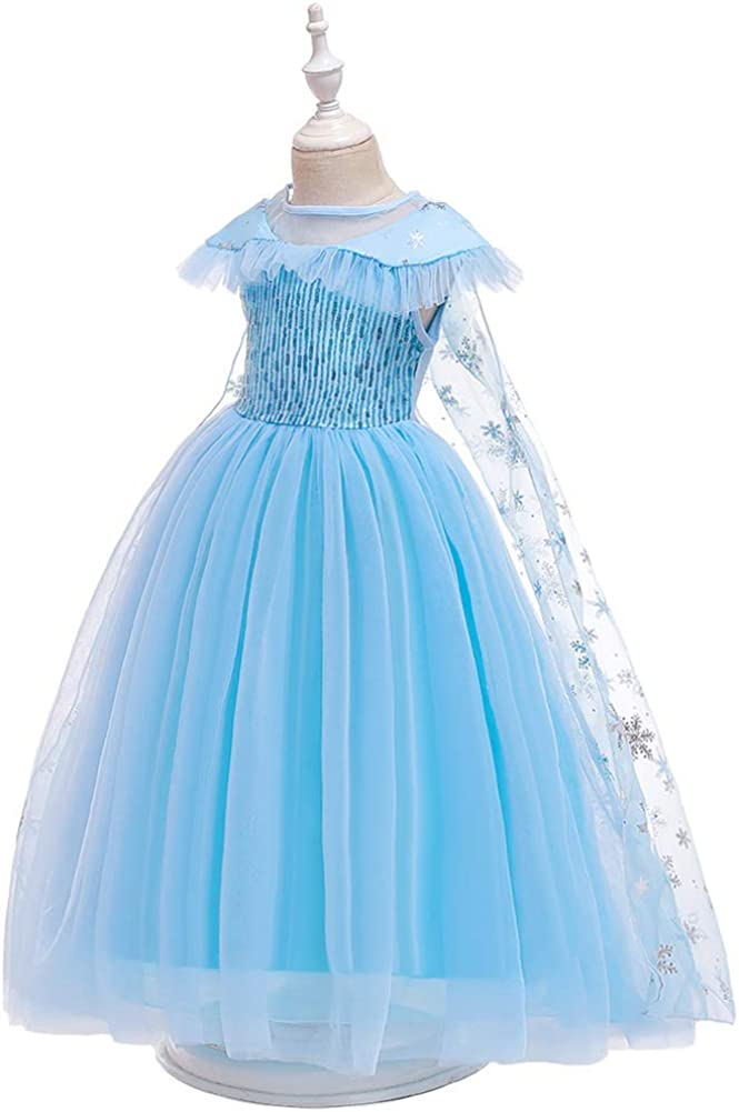 OBEEII Girls Frozen/ Fancy Dress/ with Removable Cloak Princess Elsa Anna Carnival Costume Snow Queen Cosplay Party Dresses for Christmas Xmas Halloween Birthday Pageant Photography Outfit 3-8 Years