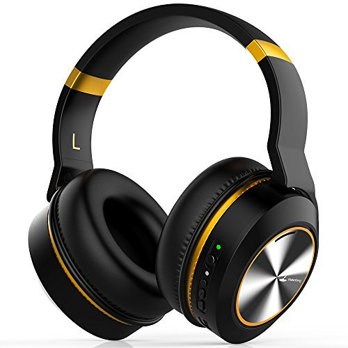 Meidong E8E Active Noise Cancelling Bluetooth Headphones Wireless Headphones Over Ear with Mic HiFi Stereo Deep Bass 20H Playtime Detachable Protein Earpads Plane Adapter Hard Case for Work Travel TV