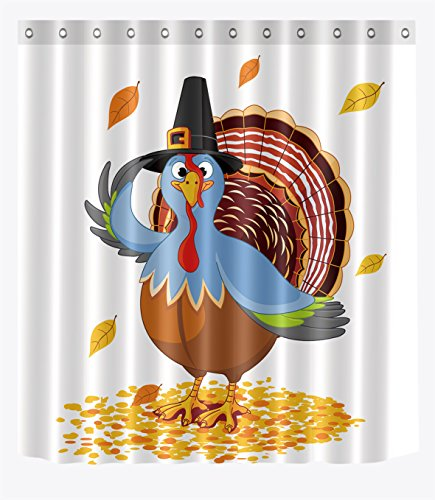 LB Cartoon Turkey Fall Leaves Shower Curtains for Bathroom, Thanksgiving Autumn Holiday Festival Decor, 70 x 70 Inch Polyester Fabric Shower Curtain Waterproof Mildew Resistant -