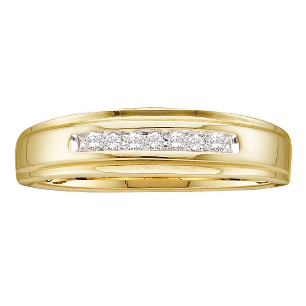 GemApex Mens Wedding Seven Stone Diamond Band Solid 10k Yellow Gold Anniversary Ring Round Channel Set 1//12 ctw