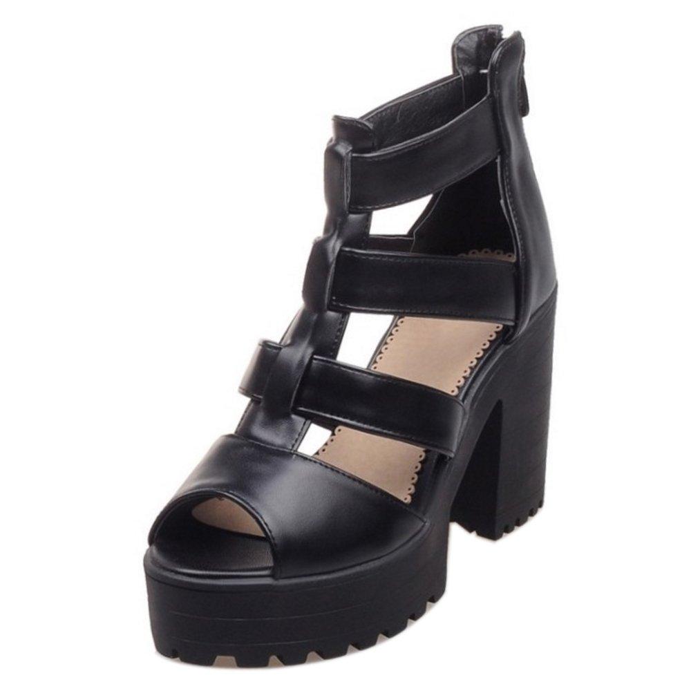 COOLCEPT Damen Mode T-Spangen Sandalen Peep Toe Blockabsatz Plateau Schuhe mit Zipper Schwarz