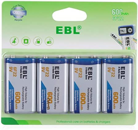 EBL 9V Rechargeable Lithium Batteries 600mAh Li-ion 9V 6F22 Batteries, Pack of four
