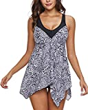 momolove Womens Two-Piece Swimdress Modest Swimsuits Tummy Control