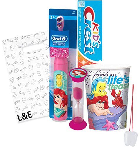 """The Little Mermiad """"Ariel"""" 4pc Bright Smile Oral Hygiene Set! Turbo Powered Toothbrush, Toothpaste, Brushing Timer & Mouthwash Rinse Cup! Plus Bonus """"Remember To Brush"""" Visual Aid & Gift Bag!!"""