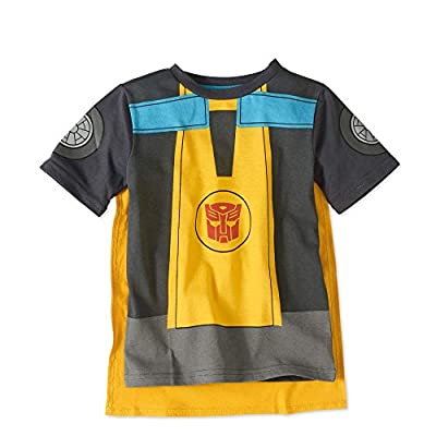 Transformers Rescue Bots Bumblebee Little Boys Short Sleeve Shirt Tee With Detachable Cape