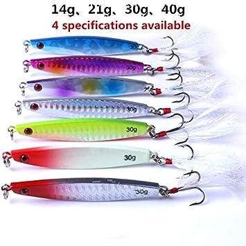 40g Hoja de Hierro de Pescado Articulo al Aire Libre Articulo Deportivo al Aire 30g Pack Hoja de Hierro de Cebo de Metal Jig 14g 21g OUYAWEI 7colors
