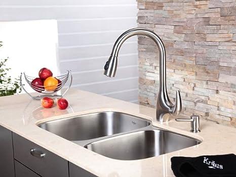 Kraus kpf-2170-sd20 sola palanca acero inoxidable Pull Out grifo de la cocina y dispensador de jabón: Amazon.es: Bricolaje y herramientas