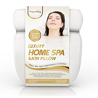 Luxury Home Spa Bath Pillow • Deep Cushion Cradles Head and Neck, Hugs Shoulders, Optimises Back Support • Pure Indulgence • Comfort Guaranteed