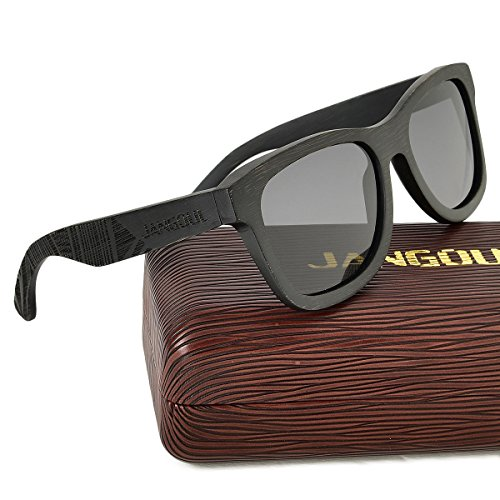 bec1629645 Bamboo Sunglasses Hand Made Wooden Sun Glasses Men Women Polarized Wood  glasses (Black Frame
