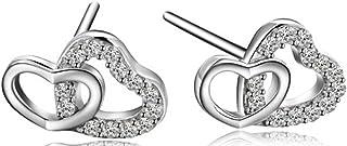 SaySure - 925 Sterling Silver Stud earring heart earring GLE03